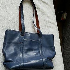 Coach leather shoulder tote bag, navy color